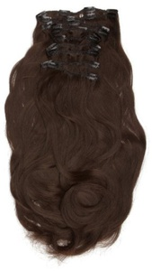 Love Hair Extensions Thermofibre Silky Straight 10 Piece Full Head Set 18-inch Dark Brown by Love Hair Extensions