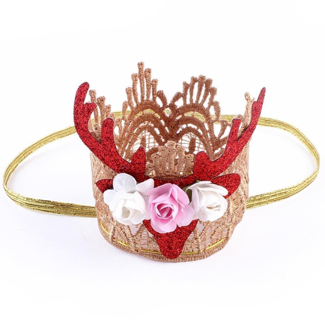 GBSELL Baby Girl Elk Christmas Crown Hairband Headwear Head Accessories Red