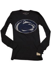 Penn State Nittany Lions Retro Brand WOMENS Navy LS Long John Style T-Shirt (M)