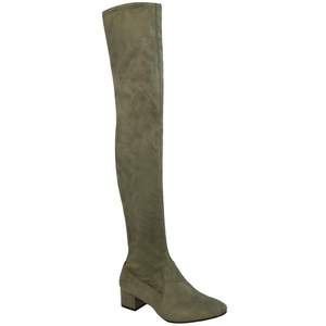 Fashion Thirsty Womens Over The Knee Flat Thigh High Low Block Heels Long Boots Zip Size 10