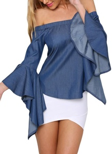 IF FEEL Sexy Off The Shoulder Denim Jean Jeans Bell Sleeve Top ((US 8-10)M, blue)