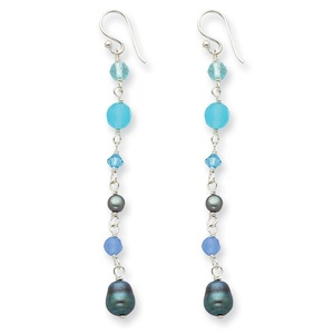 .925 Sterling Silver 76 MM Blue Agate/Freshwater Cultured Pearl/Aqua Crystal Earrings