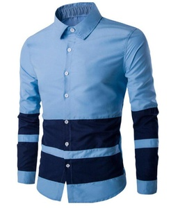 OULIU Mens Slim Fit Long Sleeve Button Down Striped Casual Shirts Blue XS