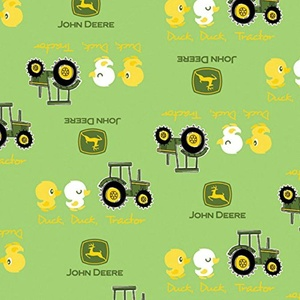 John Deere Duck Duck Tractor Green Fabric From Springs Creative By the Yard