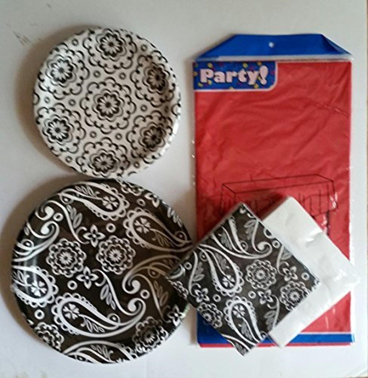Black, White and Red Party Pack, Serves 18 by Floral by Floral