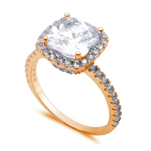 Halo Accent Wedding Engagement Ring Cushion Cut CZ and Round CZ Rose Gold Plated 925 Sterling Silver