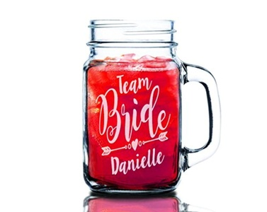 Team Bride SINGLE Personalized with Wedding Party Titles 16oz Mason Jar Custom Gifts for Bride To Be, Bachelorette Party, Bridal Shower Gifts Newly Married Gift