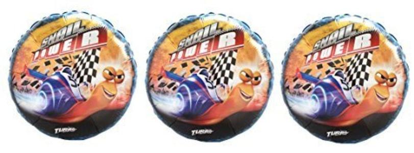 3 Turbo Snail Foil Balloons - Multipack of 3 Dreamworks Turbo Snail Power Balloons by Turbo