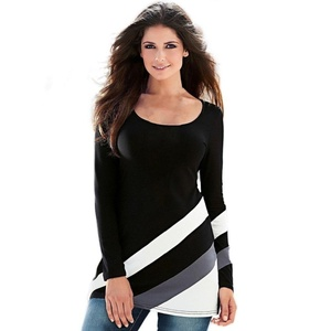Stripe Pullover Blouse, Misaky Womens Splice Long Sleeve Round Neck Tops T Shirt (L, Black)