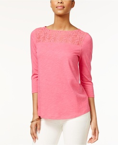American Living Womens Three-Quarter-Sleeve Lace-Inset, Pink, X-Large