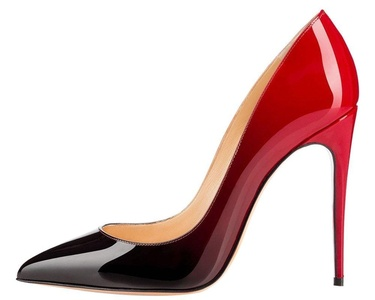 Maovii Women's Elegant Pointed Toe Gradient Color Patent High Heel Pump Shoes 7 M US Black-Red