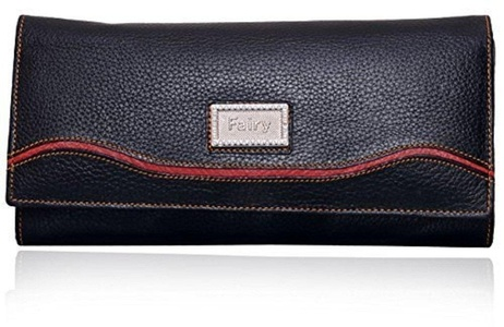 Yark Genuine Leather Ladies Big Size Hand Wallet With 7 Cards Slot (8013-Black)