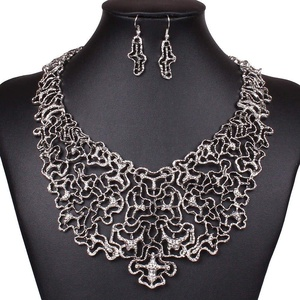 ARICO Ethnic Jewelry Set Multi Layer Hollow Maxi Statement Necklace and Earring Geometric Jewelry Sets Vintage NE569