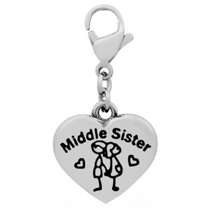 Stainless Steel Clip-on Dangling Middle Sister Heart Charm Pendant