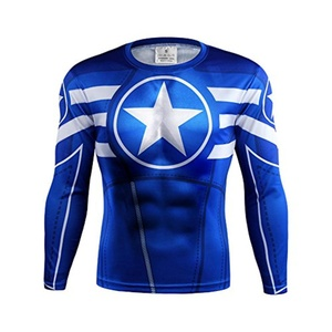 Avengers Captain America Blue Quick-Dry Sports 3D Men T-Shirt Gym Cycling Jersey (Asian-M)