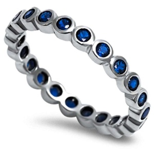 3mm Full Eternity Stackable Band Ring Bezel Bubble Round Simulated Blue Sapphire Solid 925 Sterling Silver