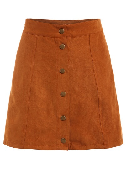 Faux Suede Front Buttoned Skirt