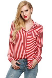 Meaneor Women's Loose Chiffon Casual Long Sleeve Striped Tops Blouse Shirt Red White L