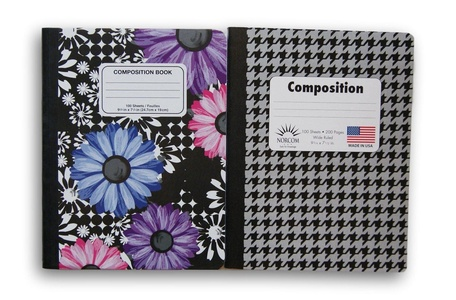 Wide Ruled 100 Sheets Composition Notebooks - Houndstooth and Floral - (Pack of 2)