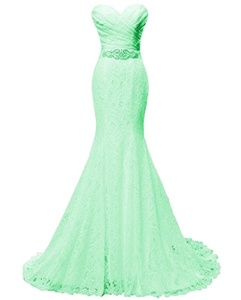 Women's Beaded Pleat Lace Wedding Dress Mermaid Bridal Gown with Sash Mint
