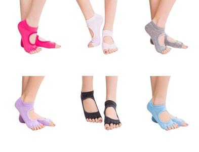 Queenmore Yoga Socks Non Slip Skid Toe Grips Pilates Barre Sock with Grip for Women