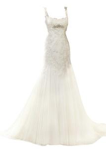 Rachel Weisz Women's Sexy Spaghetti Appliques Mermaid Lace Up Wedding Dresses Bride Evening Ball Gown Beige US4