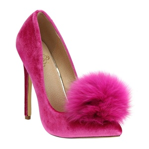 Liliana Affair Velvet Pointy Toe Stiletto High Heel Fur Pom Slip On Pump Slide Shoe Fuchsia 8