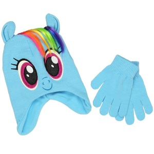 My Little Pony Youth Beanie Hat and Gloves Set (One Size, Rainbow Dash Blue)