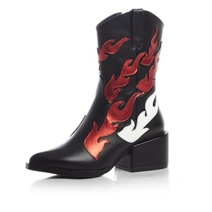 VASHOP Women's Flame Patterned Leather Two Toned Block Heel Side Zip Mid Calf Boots,Black/7.5