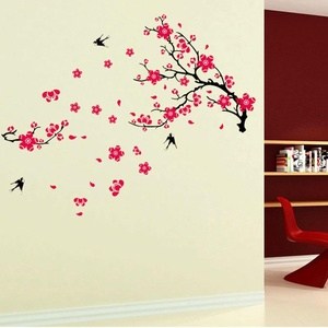 Wall Stickers Removable Wallpaper Art Decals Mural PVC Pattern Bird & Blossom Flower Vinyl DIY Decorating Background Living Room Bedroom Office Wall Sticker Home Decor, 60cm x 90cm