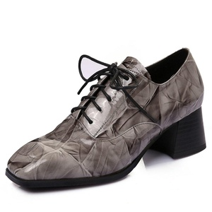 Nine Seven Patent Leather Women's Square Toe Chunky Heel Lace Up Handmade Pump (9.5, black)