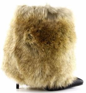 Cape Robbin Chioe-2 Faux Fur Pointy Toe Stiletto High Heel Pull On Ankle Bootie Boot Camel 8.5