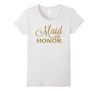 Women's Maid Of Honor Shirt Bride Shirts Gold Foil Medium White