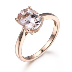 Pink Morganite Engagement Ring,7x9mm Oval Cut Stone,Solid 14K Rose Gold Band,Wedding Ring,Reco Set