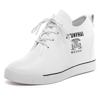 D2C Beauty Women's Leather Formal Wedge Hidden Heel Fashion Sneakers- White 6 M US