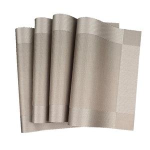 Lerela Set Of 4 Heat Insulation Placemat Rectangle Non-Slip Woven Vinyl Dining Table Mat