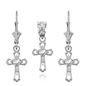 Heart Cross Charm Pendant and Earring Set in 925 Sterling Silver