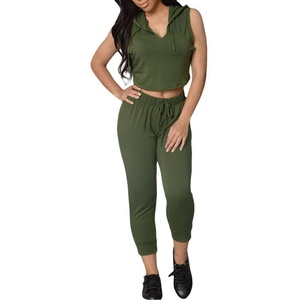 MAX Sonne Women's Hooded Crop Top Stretch Romper Pants 2 Pieces Sets-(GREEN,L)