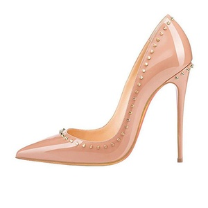 Comfity Women's Relia Rivets Stiletto High Heel Pointed Toe for Wedding Party Dress Pumps 13 M US