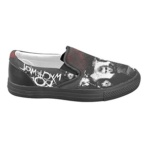H-MOE Art My Chemical Romance Women's Slip-on Canvas Shoes Breathable Casual Flats,Black