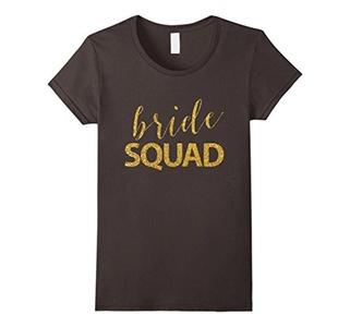 Women's Women's Bride Squad - Golden Sequins Bachelorette Party Shir Large Asphalt