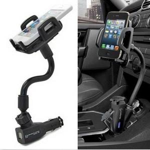Dual USB Port Cigarette Lighter Socket Car Mount Charger Holder For iPhone 6S US