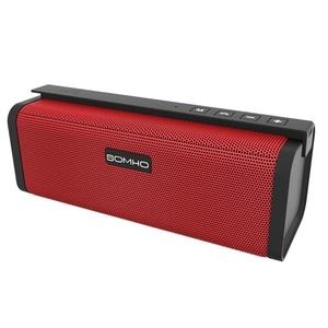 Mini Bluetooth Speakers, HLS S311 10W Dual-Driver Portable Wireless Stereo Outdoor Speaker with FM Radio, Micro SD Card and Built-in Mic for Calls, for iPhone iPad and Other Bluetooth Devices - Red