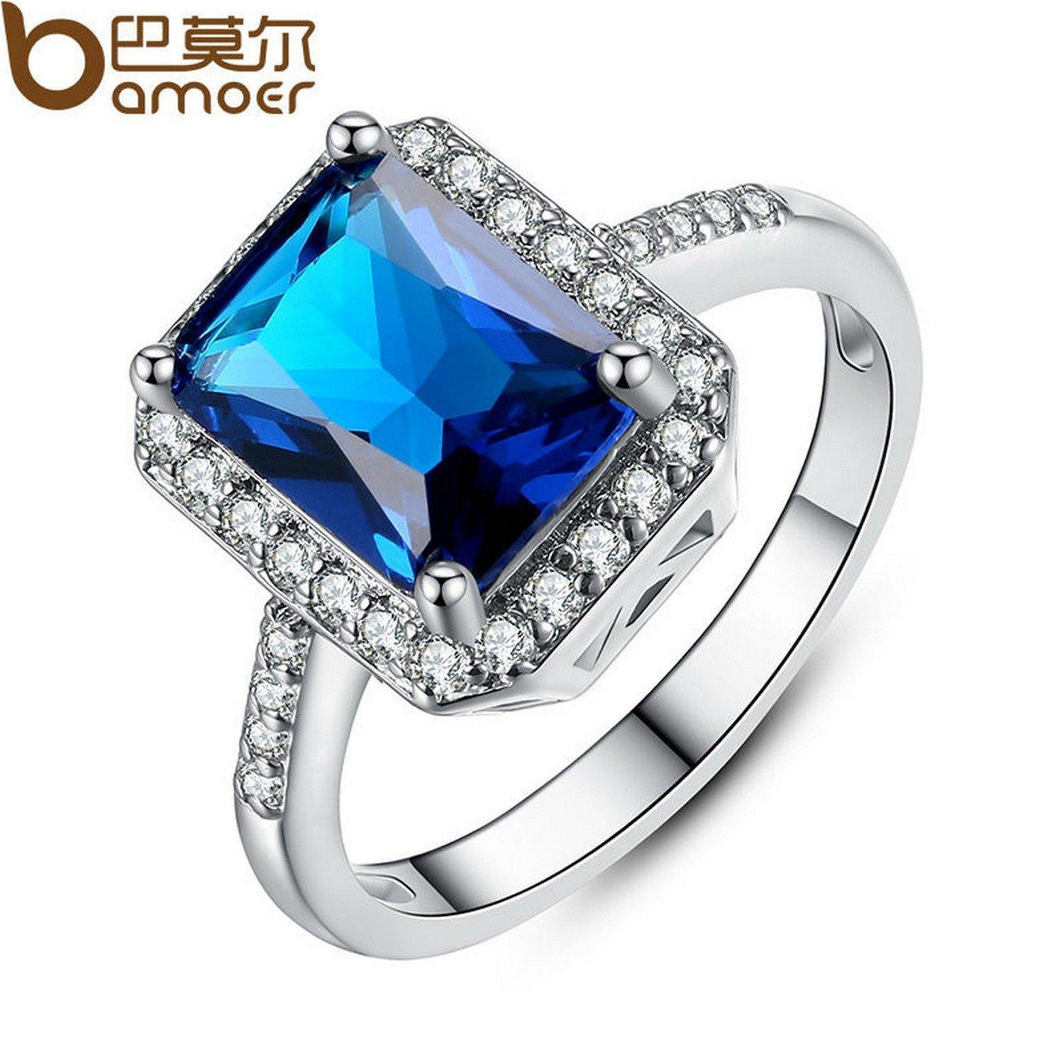 Slyq Jewelry Zircon Platinum Gold Plated Blue Geometric Rhinestone Surround Crystals Finger Ring Fashion Jewelry YIR059