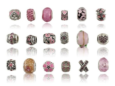 Charm Central Mixed Pink Charms for Charm Bracelets - 18 Charms for Charm Bracelets - Heart Charms, Flower Charms, Crown Charms - All Charms Fit Pandora and Other Charm Bracelets
