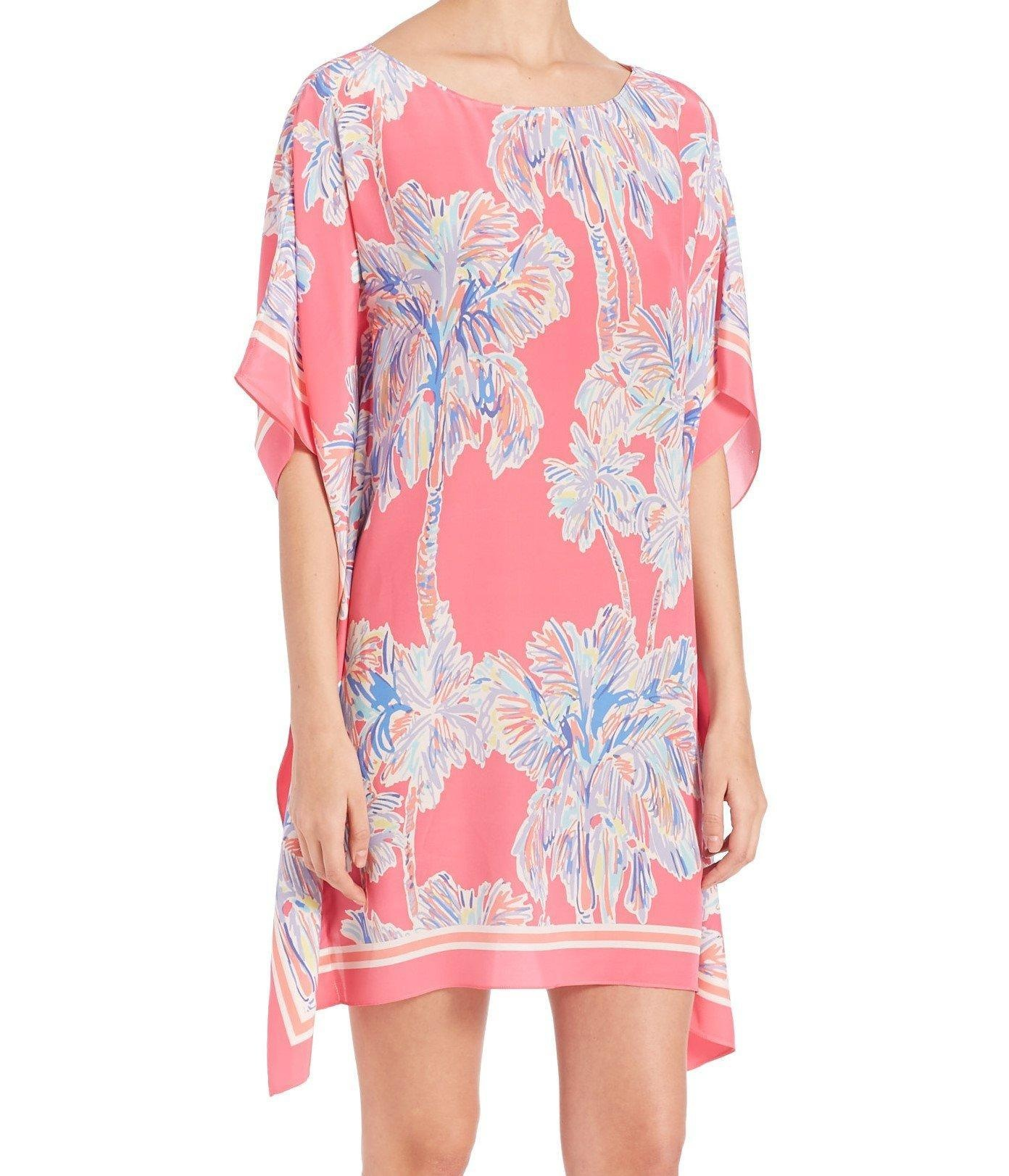 cefb7a0694eae3 Online Store: Lilly Pulitzer Lindamarie Silk Caftan Dress Flamingo Pink  Nice Stems Xxs