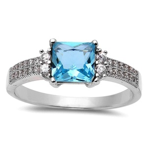 Wedding Ring Princess Cut Simulated Aquamarine Round Cubic Zirconia 925 Sterling Silver 5-10