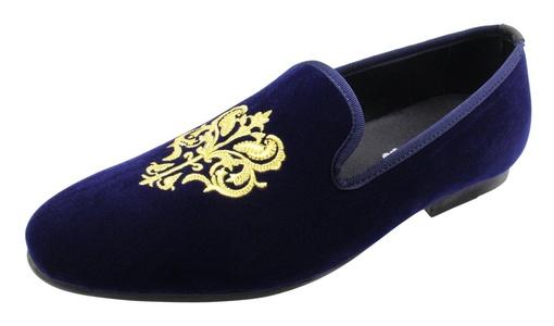 Santimon Men Loafers Smoking Slipper Embroidery Noble Handmade Velvet Casual Slip on Shoes Blue 5 D(M) US