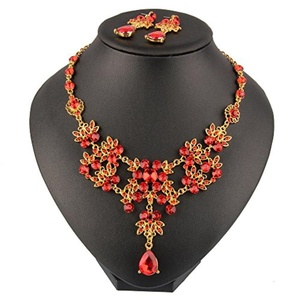 Beauty7 Red Hollow Out Flower Leaf Rhinestone Crystal Pendant Bib Necklace Earrings Jewelry Set Women