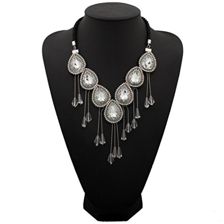 ARICO Crystal Necklace Tassel Necklace Long Pendant Necklace Simple Maxi Necklace Collier Colar Collares NE782